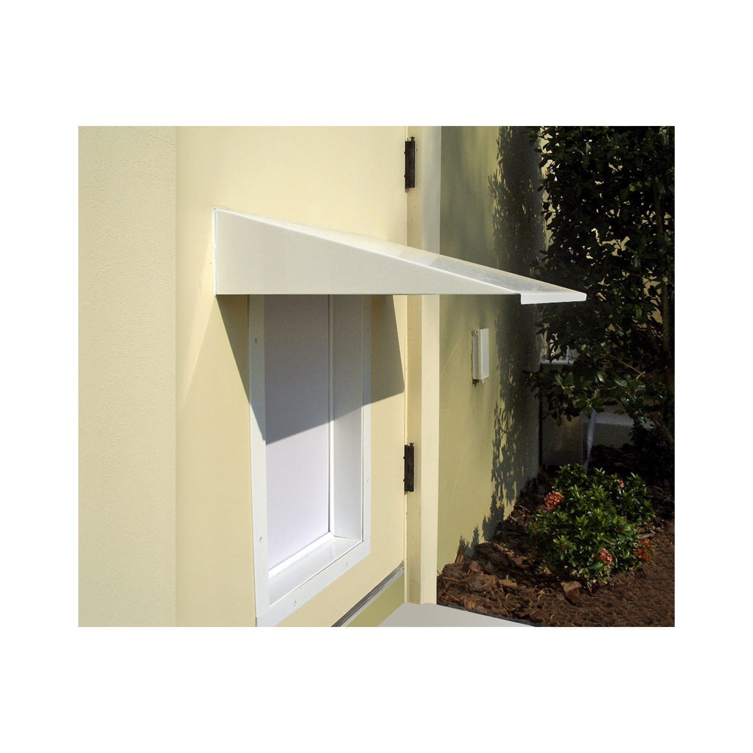 PlexiDor Dog Door Awning in white attached to structure