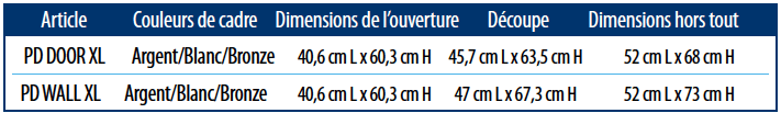 PlexiDor extra large size chart French